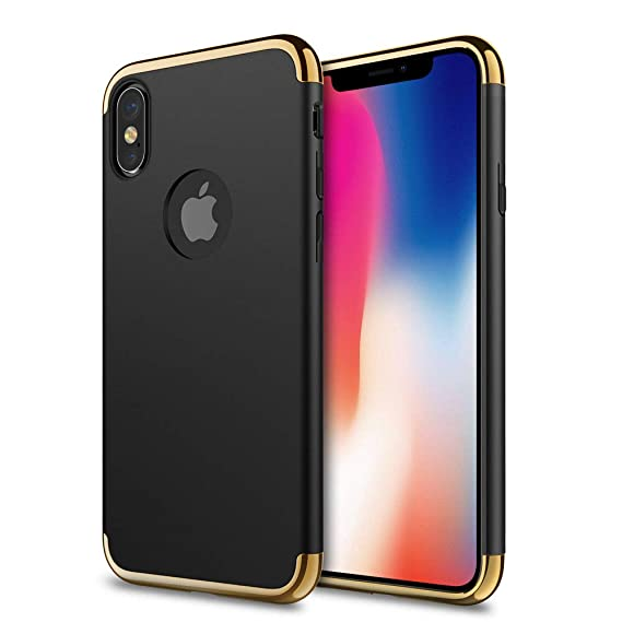 huge selection of e0154 09dd3 iPhone X Case, idutou 3-in-1 Sleek Thin and Slim Fit Hard Shell Cover with  3 Detachable Parts for Apple iPhone 10 [Support Wireless Charging], Chrome  ...