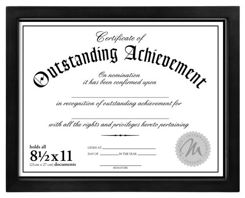 Malden International Designs Wooden Document Frame, 8.5x11, Black