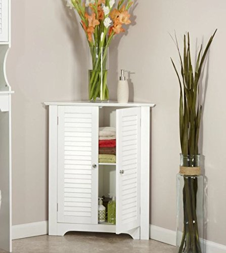 Corner Floor Cabinet with White Shutter Doors Corner Cabinet Room Décor Furniture Corner Wall Cabinet Corner Storage Cabinet Corner Bathroom Cabinet Corner Cabinet Shelf Corner Kitchen Cabinet by Bath King