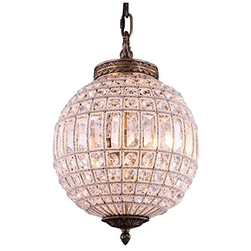 Elegant Lighting Olivia Collection 1-Light Pendant Lamp with Royal Cut Crystals, French Gold ()