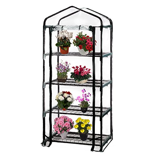 Seven colors house 4-Tier Portable Transparent Greenhouse, for Indoor & Outdoor Gardening 27″ Long x 19″ Wide x 63″ High Review