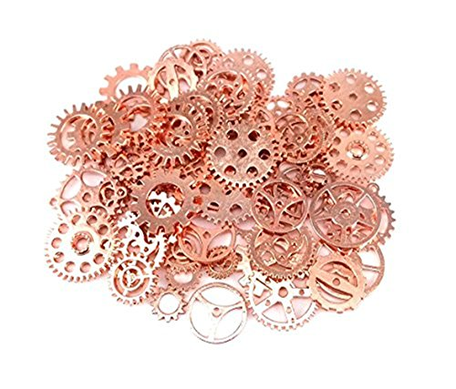 Jewelry Cogs Steampunk Gears Charms Pendant Clock Watch Wheel Gear for Crafting, Jewelry Making Accessory ( 100 Gram ) (Rose Gold) from BSTGO