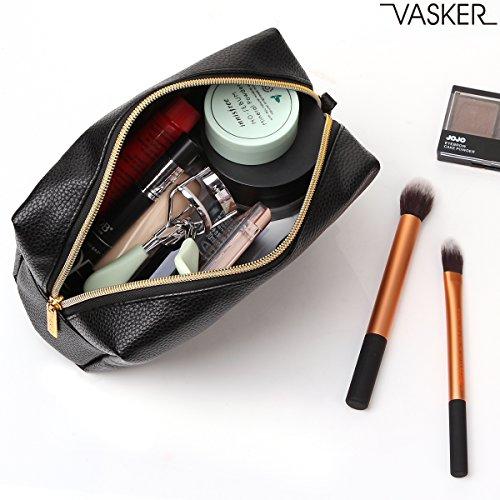 VASKER PU Leather Makeup Bag Handy Cosmetic Pouch Travel Portable Handbag Purse Toiletry Storage Bag Large Organizer with Zipper Women by VASKER (Image #5)