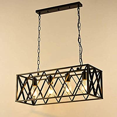 GlanzLight GL-63204, American Industrial 4 Lights Metal Pendant Lighting,Rectangular LED Adjustable Chandeliers,Antique Metal Linear Pendant Light
