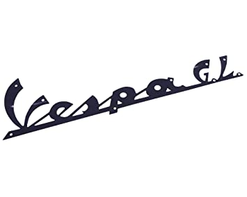 """Schriftzug für Beinschild /""""Vespa GL/"""" schwarz 165x45mm 9 Nieten"""