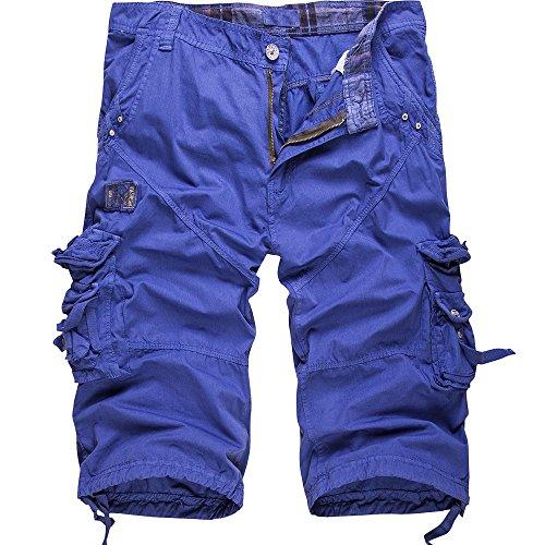 Cottory Men's Cotton Loose Fit Multi Pocket Cargo Shorts Blue 34 ()