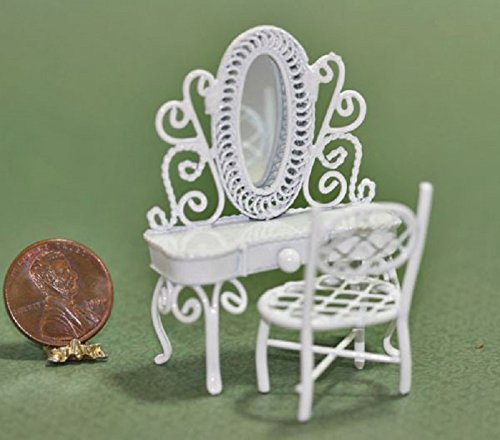 Dollhouse Miniature 1:24 White Wire Victorian Vanity and Vanity Chair Set
