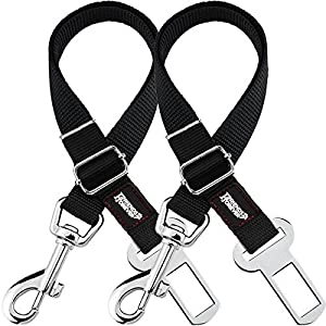 Friends Forever Dog Seat-Belt, Adjustable 2-Pack Black Nylon Vehicle Tether for Pets, Cat Car Restraint Lead 6