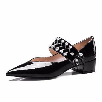 MUYII Pisos Bordados De Perlas De Las Mujeres Hebilla De Cinturón De Cuero Mocasines Zapatos De Trabajo Zapatos De Maternidad Zapatos De Mary Jane: ...