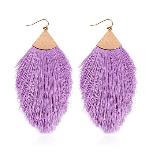 Bohemian Silky Thread Fan Tassel Statement Drop - Vintage Gold Feather Shape Strand Fringe Lightweight Hook/Acetate Dangles Earrings/Long Chain Necklace (Earrings Feather Fringe - Lavender)