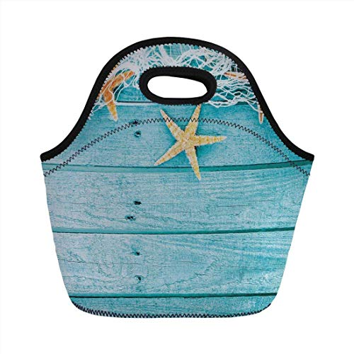 (Portable Bento Lunch Bag,Starfish Decor,Rustic Wood Boards Fishing Net and Ocean Animals Nautical Print Decorative,Turquoise White Orange,for Kids Adult Thermal Insulated Tote)
