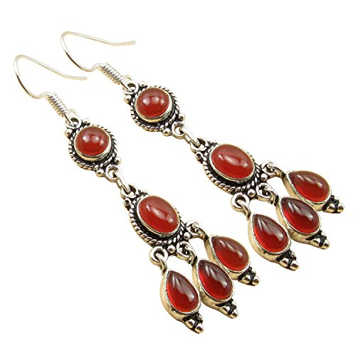 Red Carnelian Earrings (Multi Gemstone RED Earrings, Real CARNELIAN Silver Plated LONG Jewelry 2 1/2