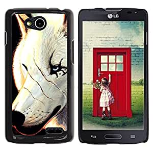 Qstar Arte & diseño plástico duro Fundas Cover Cubre Hard Case Cover para LG OPTIMUS L90 / D415 ( White Wolf Scars Face Scarface Blue Eyes)