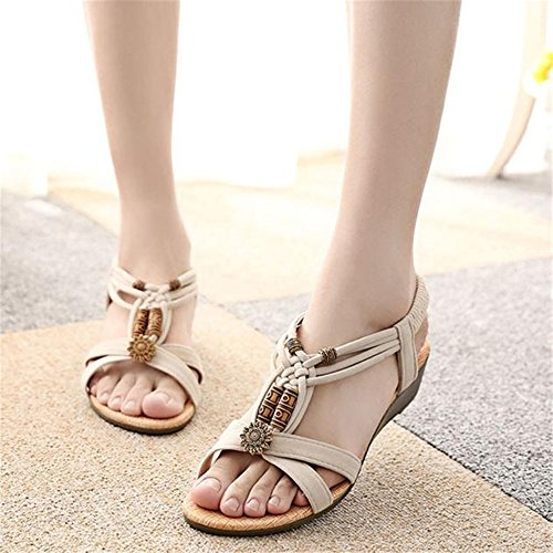 SKY Comfortable to wear it !!! Sandalias del ms retro tejidas Roman Peep-toe Flat Buckle Sandals Beige