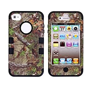 RC - Tree Branch Pattern Protective Silicone Case for iPhone 4/4S (Assorted Colors) , Black