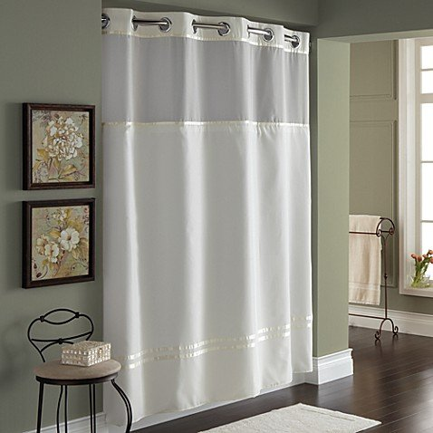 Hookless Escape 71-Inch x 74-Inch Fabric Shower Curtain and Shower Curtain Liner (71''x74'', Ivory)