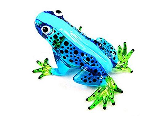 Unique Frogs (MINIATURE HAND BLOWN Art GLASS New Frog, Blue FIGURINE)