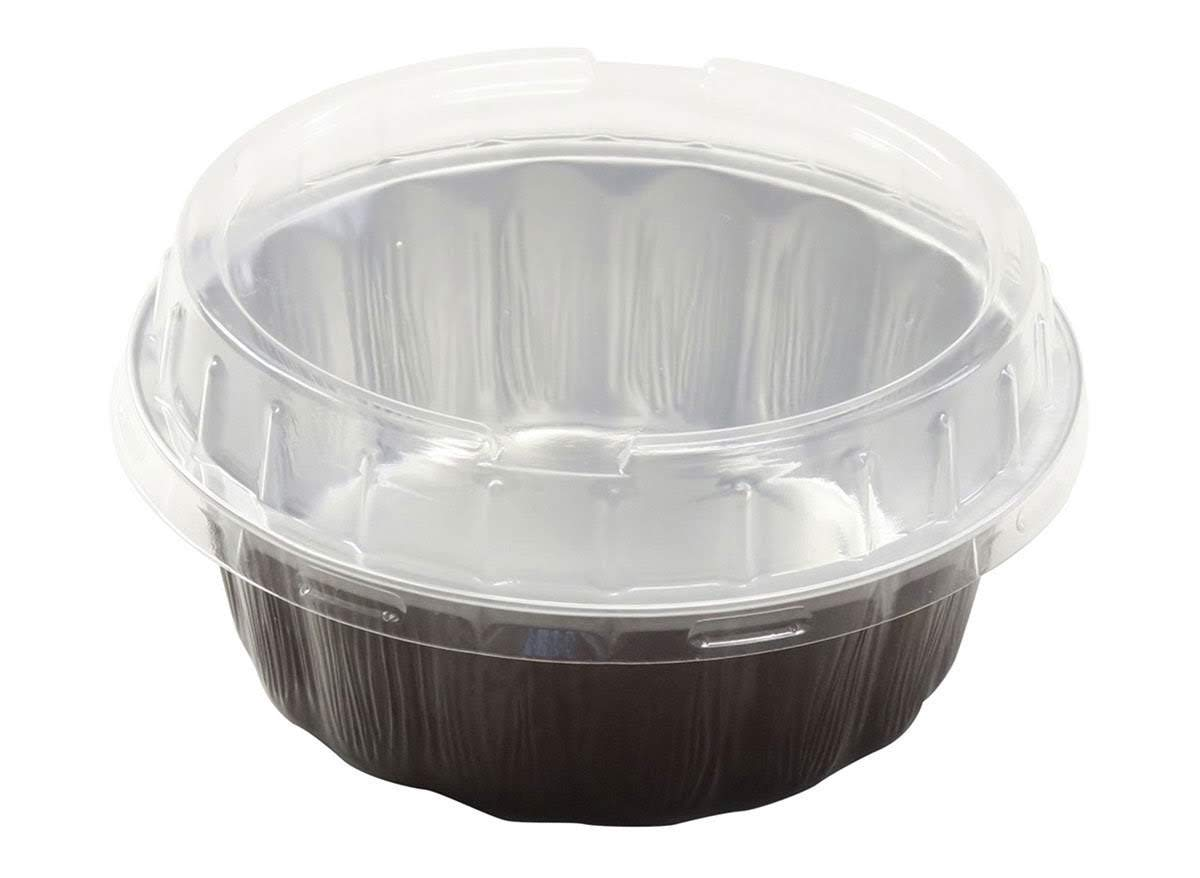 KitchenDance Disposable Colored Aluminum 8 oz. Individual Cake Cups- Tart Pans-Dessert Pans. Color and Lid Options #A8 (100, Chocolate With Lids)