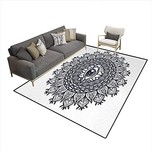 Floor Mat,Vintage Symmetrical Circular Occult Pattern Knowledge of The Hidden Third Eye Providence,3D Printing Area Rug,GreySize:6'6