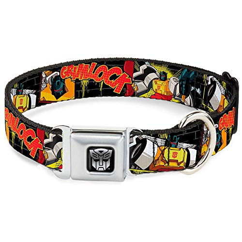 Buckle Down Seatbelt Buckle Dog Collar - Grimlock Poses/Brick Wall Black/Gray/Yellow/Red - 1.5