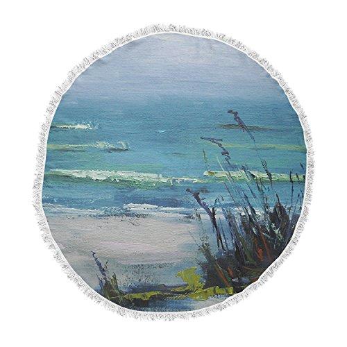 KESS InHouse Carol Schiff Sanibel Blue Painting Round Beach Towel - Stores Sanibel