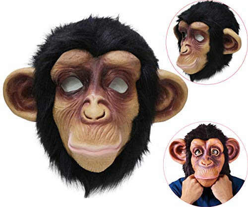 Latex Chimp Mask Novelty Latex Monkey Gorilla Animal Head Mask Halloween Party Costume