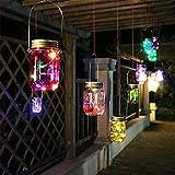 Solar Mason Jar Lights, 5 color changing LED Fairy String Light Lid Insert, LED Jar Lantern for Garden Patio Porch Table(Mason Jar & Handle Included)