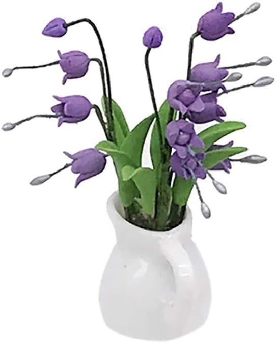 TwoCC Accesorios para el hogar, Mini Dollhouse Miniatura Planta verde Flor en maceta Accesorio de jardín de hadas (Púrpura)