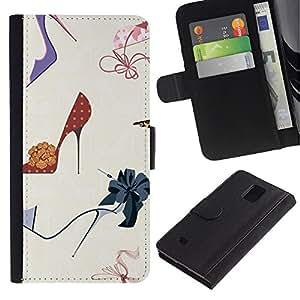 Billetera de Cuero Caso Titular de la tarjeta Carcasa Funda para Samsung Galaxy Note 4 SM-N910 / Fashion Stiletto Woman Pastel / STRONG