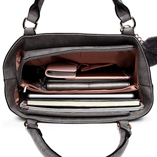Stylish Grey Handbag Compartment Pendant Leather Imitation Handle Nubuck Bag Fluffy Casual Furry Ball Lulu Miss 1768 with Top ETxUqwEHC