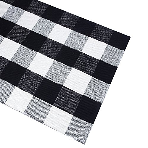 Black White Cotton Rug Checkered Doormat Plaid Area Rug Entry Way Porch Mat Washable Throw Rug 2x3 Rug ()