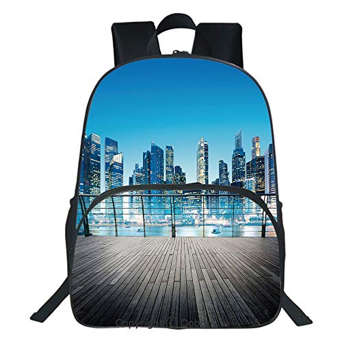Oobon Kids Toddler School Waterproof 3D Cartoon Backpack, City Scenery with Skyscrapers Ocean Sea Image Blurry Details, Fits 14 Inch Laptop