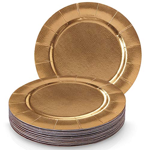 DISPOSABLE ROUND CHARGER PLATES - 20pc (Metallic/Gold)