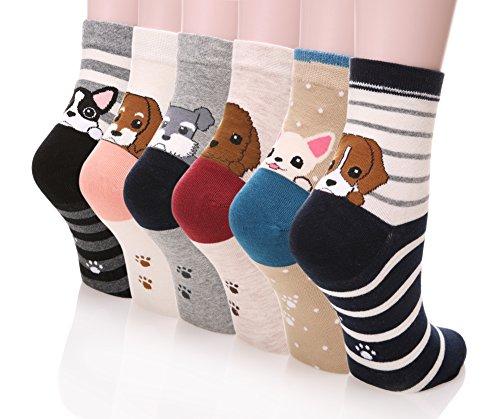 Dosoni Girl Cartoon Animal Cute Casual Cotton Novelty Crew socks 6 packs-Gift Idea (Cute (Teen Socks)