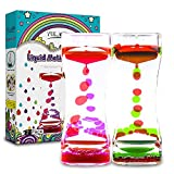 YUE ACTION Liquid Timer 2 Pack / Liquid Motion Bubbler Timer for Calming Sensory Toys, Autism Toys ,Fidget Toy, Children Activity, Desk Toys,Novelty Gifts, Assorted Colors (Green+Red Set)