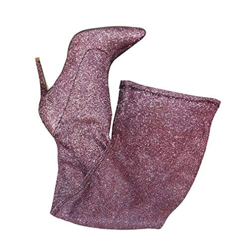 (Women's Autumn Winter Sequined Stretch Cloth Sexy Over The Knee Boots Thin Leg High Heels Shoes Ladies Thigh High Boots Light Purple)