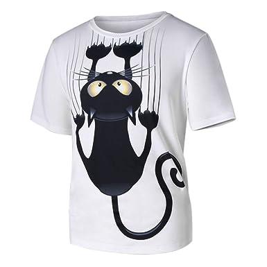 e5882da2 HLHN Unisex Tops T-Shirt,Short Sleeve Cat Print Slim Casual Blouse Pullover  Man Women Couple Khaki: Amazon.co.uk: Clothing