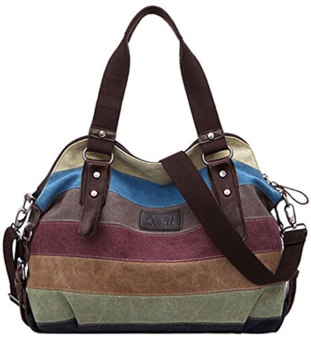 Coofit Multi-Color-Striped Canvas Damen Handtasche / Umhängetasche