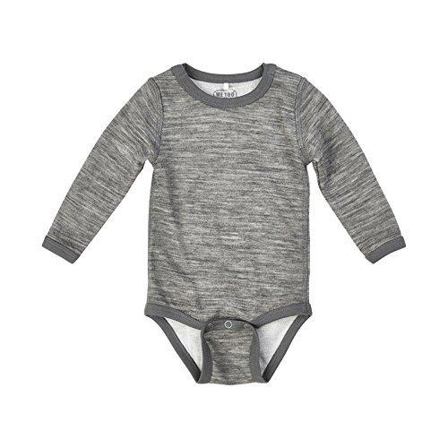 Merino Wool/Bamboo Baby Onesie - Grey Melange (18-24m)/Tag size 86 (Baby Merino Wool)