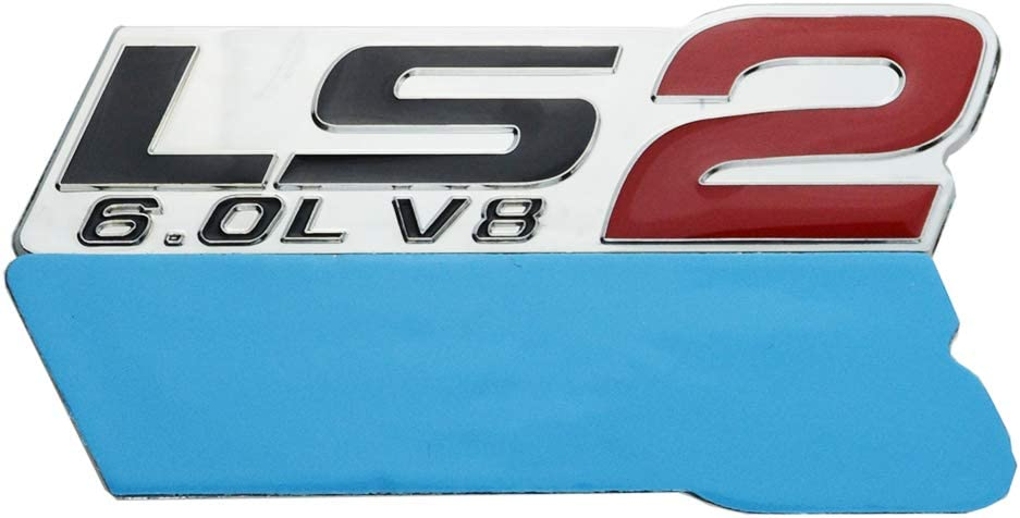 2 Pcs LS2 6.0L V8 Engine Emblems 3D Auto Badge Nameplate Replacement for GM Chevy Corvette Camaro Black Red Chrome