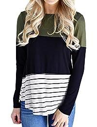 Womens Patchwork Block Stripe Long Sleeve O Neck...