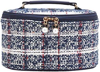 化粧品収納ボックス 大容量の化粧品収納ボックスポータブル化粧品袋家庭用スーツケースは、ぬいぐるみ素材メタルジッパーノイズを分類できます QTKGG (Color : A)