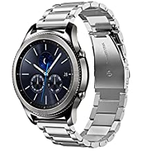 22mm Gear S3 Watch Band,iitee Stainless Steel Link Watch Band Strap Replacement For Samsung S3 Classic/Gear S3 Frontier (Silver)