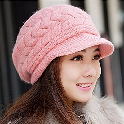 Fall Winter Beanies Knitted Hats Rabbit Fur Cap Snapback Cap Ladies Female Fashion Skullies Elegant Women Hat (Pink Color)