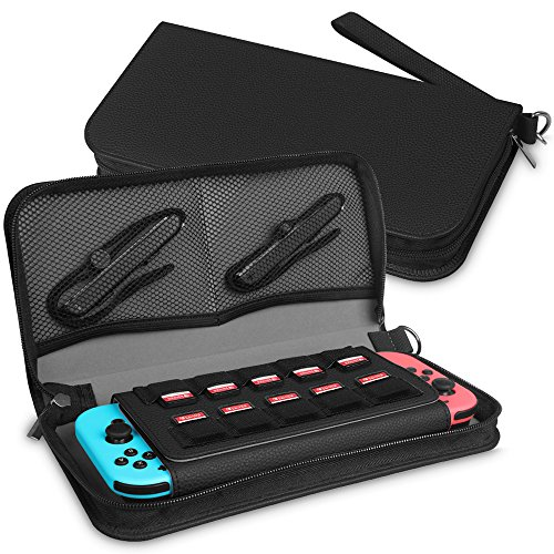Fintie Carrying Case for Nintendo Switch with Built-in [Screen Safe] Protective Flip / 10 Game Card Slots / Inner Pocket - Portable Travel Carry Cover for Nintendo Switch Console & Accessories, Black