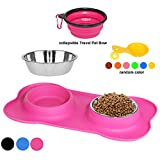 Clevero Dog Bowls 2 Stainless Steel Bowls with Non-Skid No Spill Silicone Mat + Collapsible Travel Pet Bowl + Food spoon for Dogs Cats and Pets(Pink)