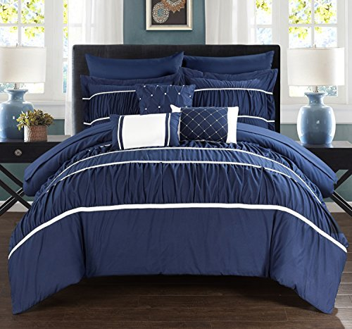 Chic Home Cheryl 10 Piece Comforter Set Complete Bed in a Bag Pleated Ruched Ruffled Bedding with Sheet Set And Decorative Pillows Shams Included, Queen Navy