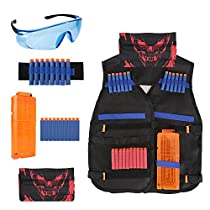 Kids Tactical Vest Kit for Nerf Guns N-Strike Elite Series, Tactical Vest Jacket with Refill Darts& Reload Clips& Face Tube Mask& Protective Glasses& Hand Wrist Band for Boys
