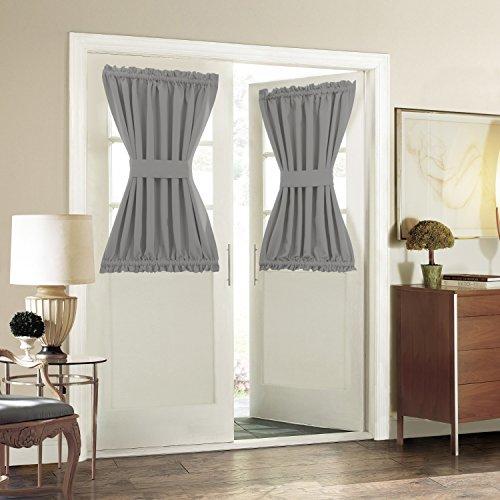 Blackout Door/ Window Curtain Panels for Privacy - Aquazolax 54W x 40L Blackout Window Treatment Curtains for French Door - 1 Panel, Grey by Aquazolax (Image #3)'