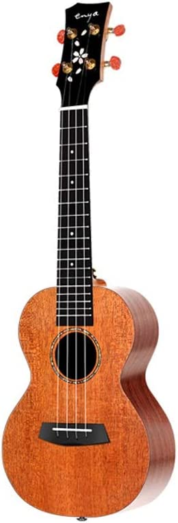 Miiliedy Chapa de caoba Ukulele Sakura Series Principiante Adultos Hombres y mujeres 23 pulgadas Pequeña guitarra con bolsa Correa Cuerdas de repuesto Paño para pulir